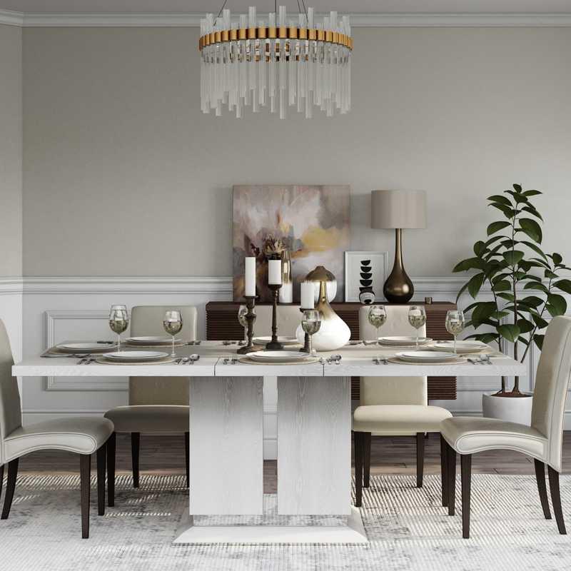Glam, Transitional Dining Room Design by Havenly Interior Designer Vaishali