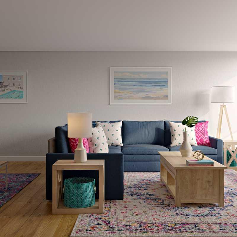 Coastal, Farmhouse Living Room Design by Havenly Interior Designer Carolyn