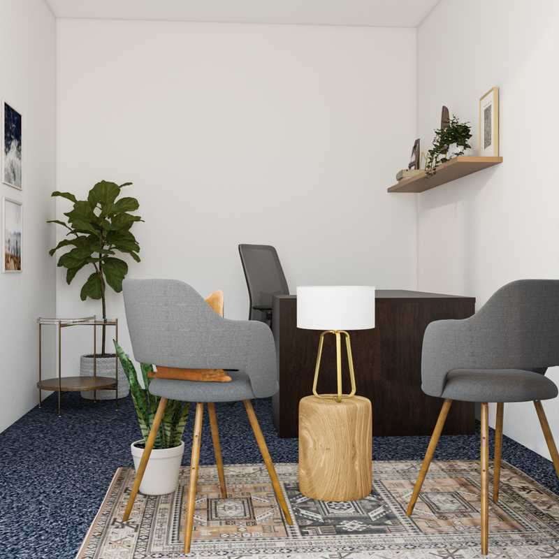 Modern, Bohemian, Midcentury Modern Office Design by Havenly Interior Designer Abby
