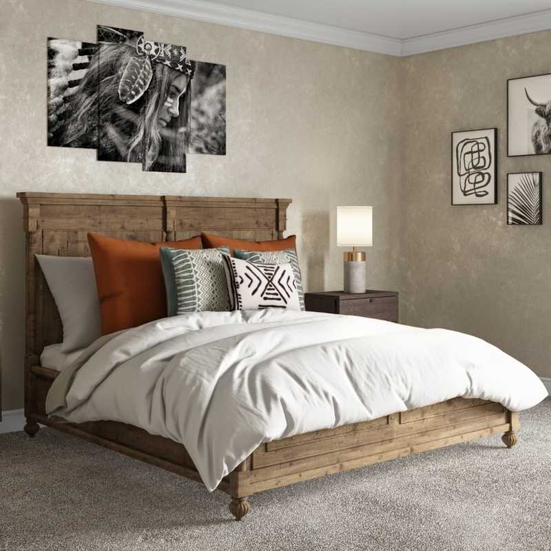 Bohemian, Rustic, Southwest Inspired Bedroom Design by Havenly Interior Designer Rebecca