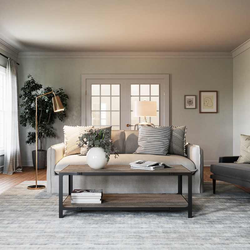 Classic, Eclectic, Farmhouse Living Room Design by Havenly Interior Designer Kate