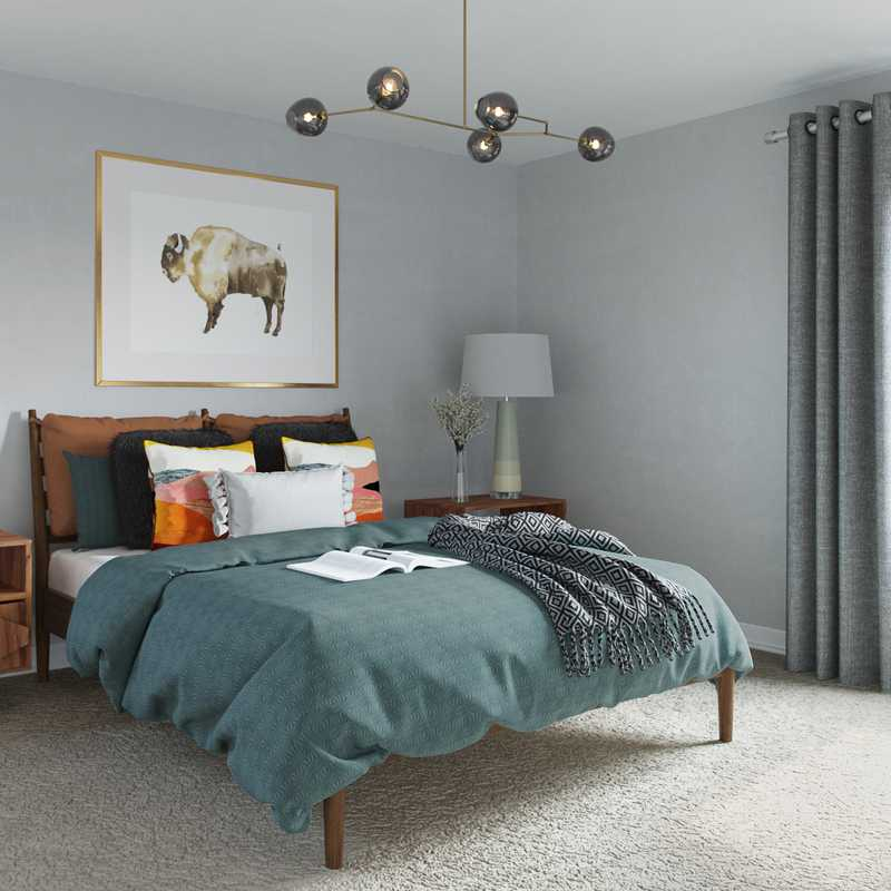 Eclectic, Bohemian, Midcentury Modern Bedroom Design by Havenly Interior Designer Heather