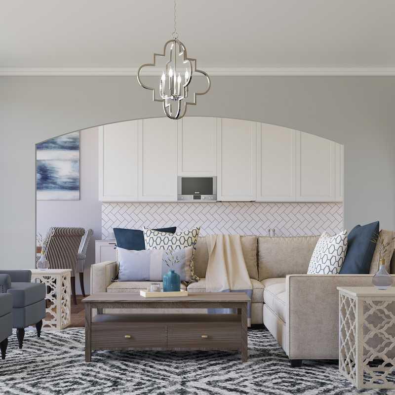 Contemporary, Classic, Transitional, Preppy Living Room Design by Havenly Interior Designer Lyndsi