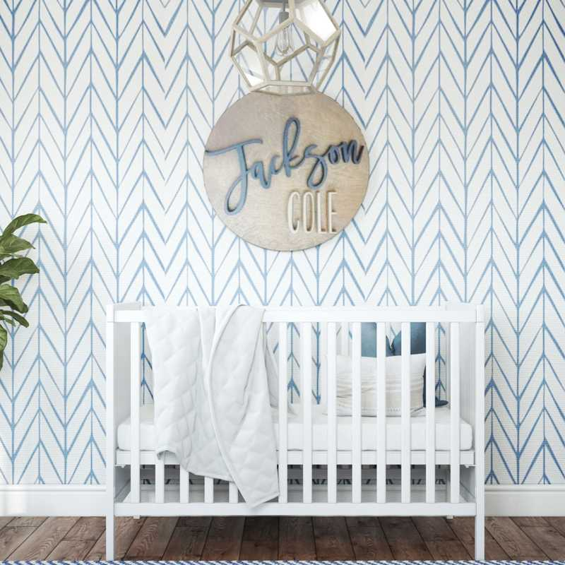 Contemporary, Coastal, Farmhouse, Transitional Nursery Design by Havenly Interior Designer Lyndsi