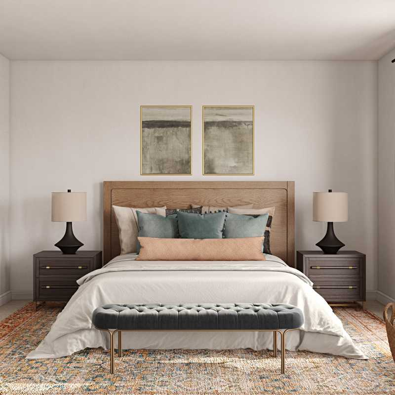 Contemporary, Eclectic, Bohemian, Midcentury Modern Bedroom Design by Havenly Interior Designer Patricia