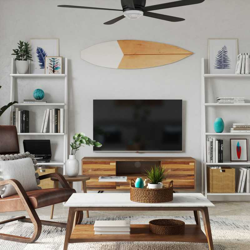 Eclectic, Bohemian, Midcentury Modern Living Room Design by Havenly Interior Designer Amanda