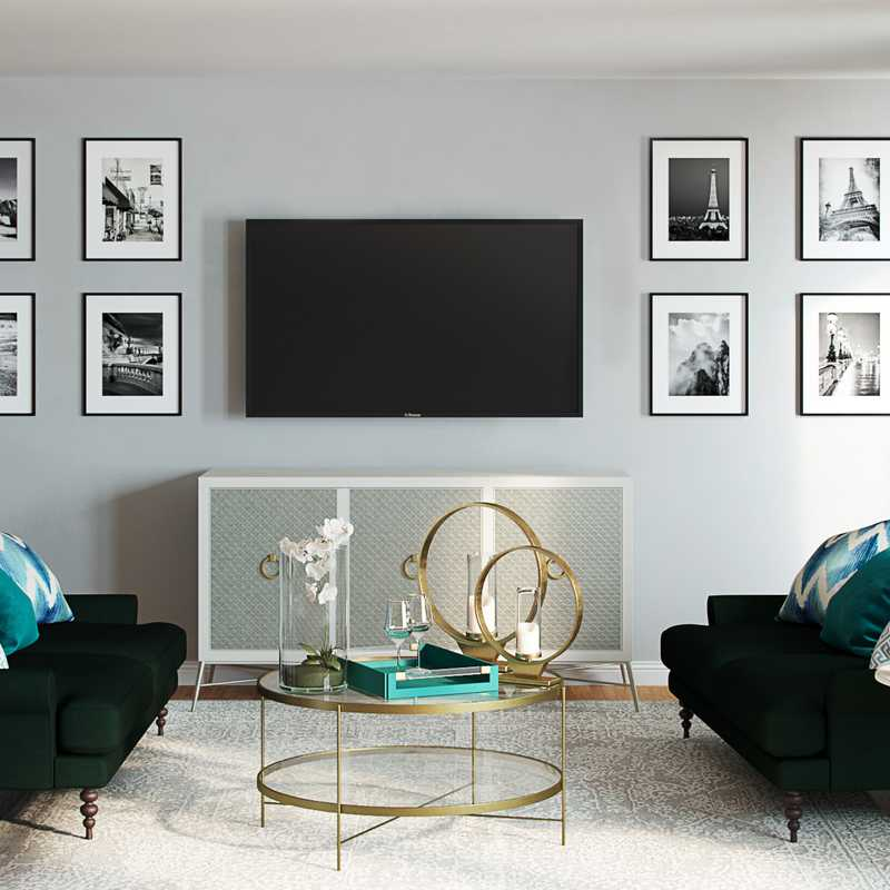 Contemporary, Classic, Glam Living Room Design by Havenly Interior Designer Amy