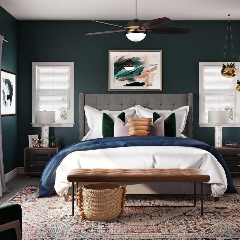 Modern, Bohemian, Midcentury Modern Bedroom Design by Havenly Interior Designer Karen