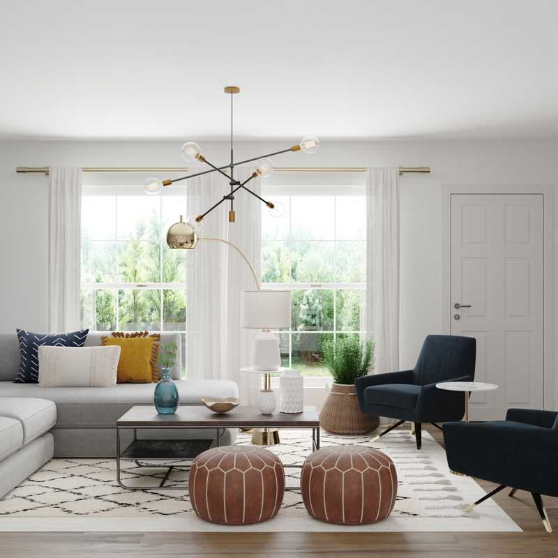Bohemian, Glam, Midcentury Modern Living Room Design by Havenly Interior Designer Ghianella