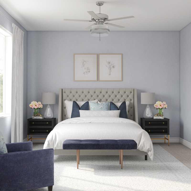 Glam, Midcentury Modern Bedroom Design by Havenly Interior Designer Kristina