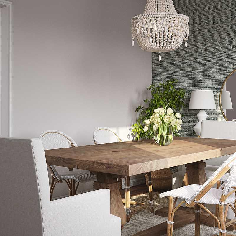 Coastal, Preppy Dining Room Design by Havenly Interior Designer Kelsey