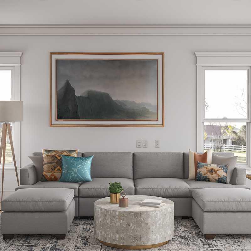 Contemporary, Bohemian, Global Living Room Design by Havenly Interior Designer Emelia