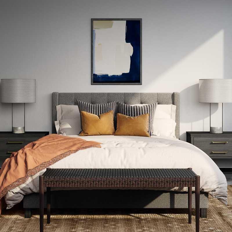 Bohemian, Midcentury Modern Bedroom Design by Havenly Interior Designer Isabella