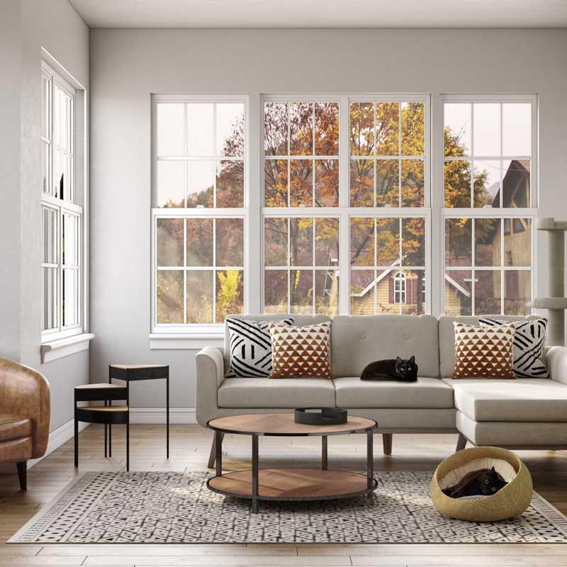Industrial, Midcentury Modern Living Room Design by Havenly Interior Designer Karina