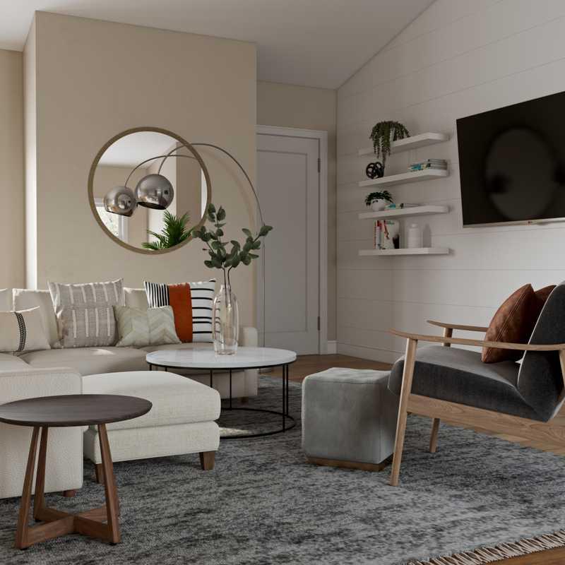Coastal, Farmhouse Living Room Design by Havenly Interior Designer Carly