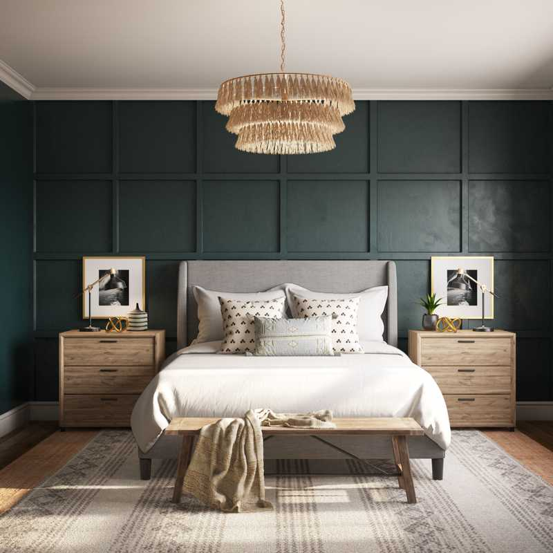 Eclectic, Bohemian, Transitional Bedroom Design by Havenly Interior Designer Kaity