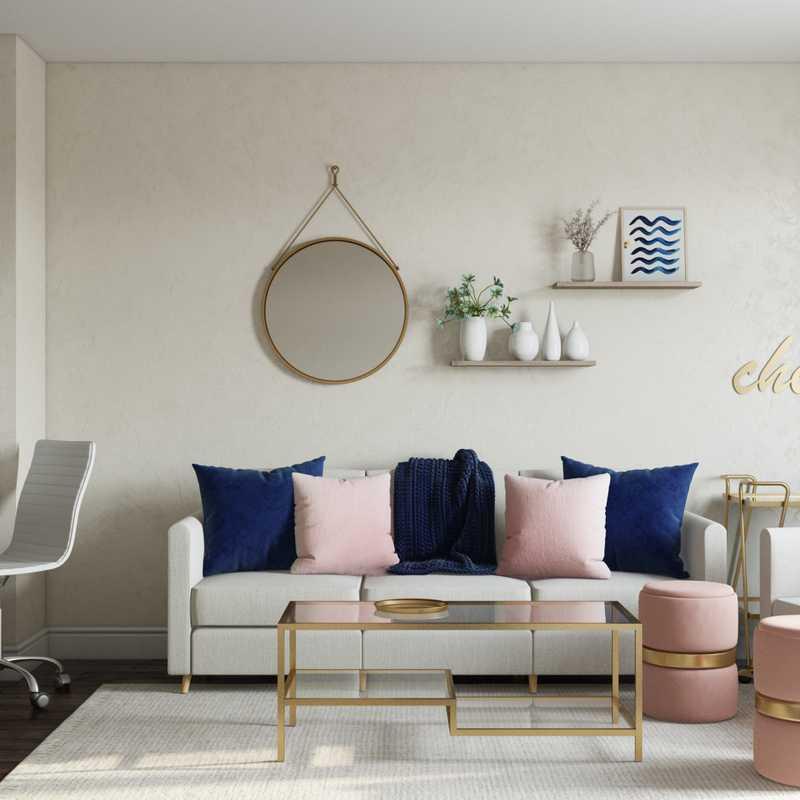 Glam, Farmhouse, Preppy Living Room Design by Havenly Interior Designer Nicollette
