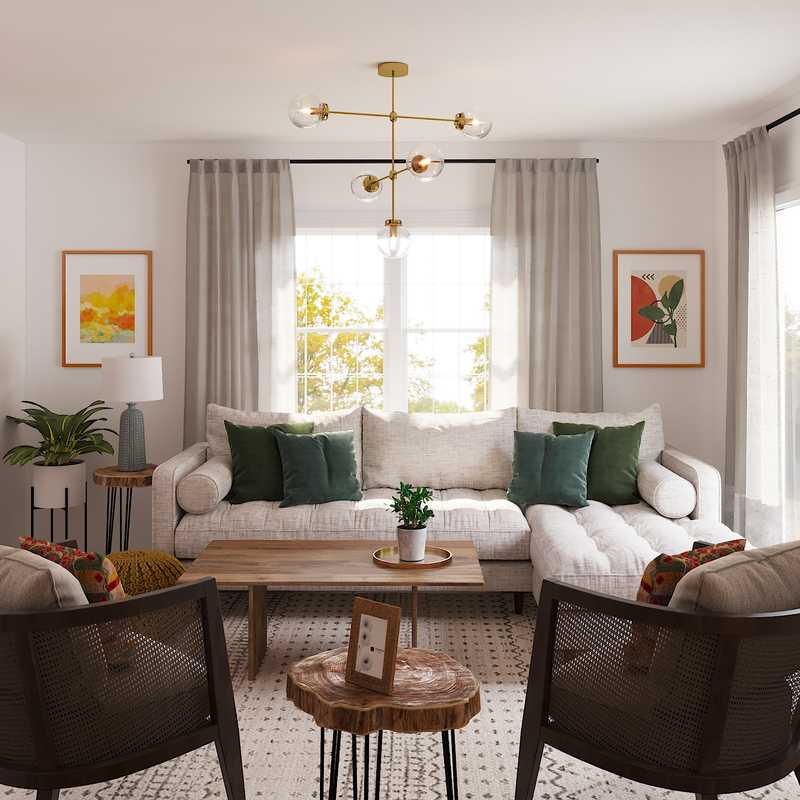 Contemporary, Modern, Midcentury Modern Living Room Design by Havenly Interior Designer Sofia