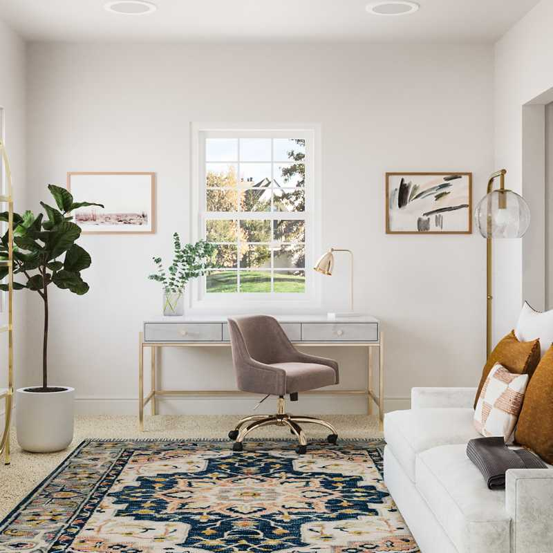 Eclectic, Transitional Office Design by Havenly Interior Designer Brianna