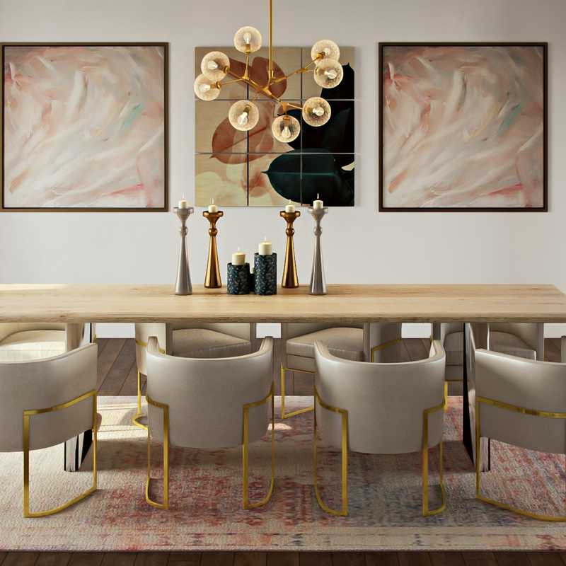 Eclectic, Glam, Midcentury Modern Dining Room Design by Havenly Interior Designer Logan