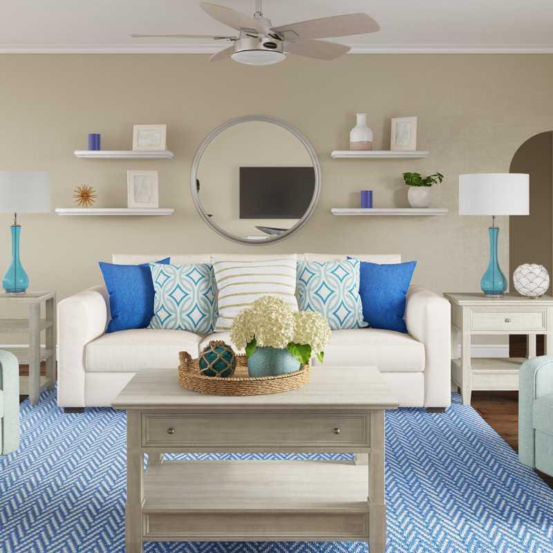 Coastal, Transitional Living Room Design by Havenly Interior Designer Shannon