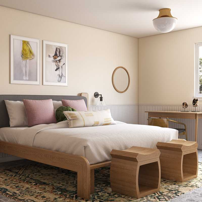 Classic, Bohemian, Industrial, Rustic, Midcentury Modern, Classic Contemporary Bedroom Design by Havenly Interior Designer Emma