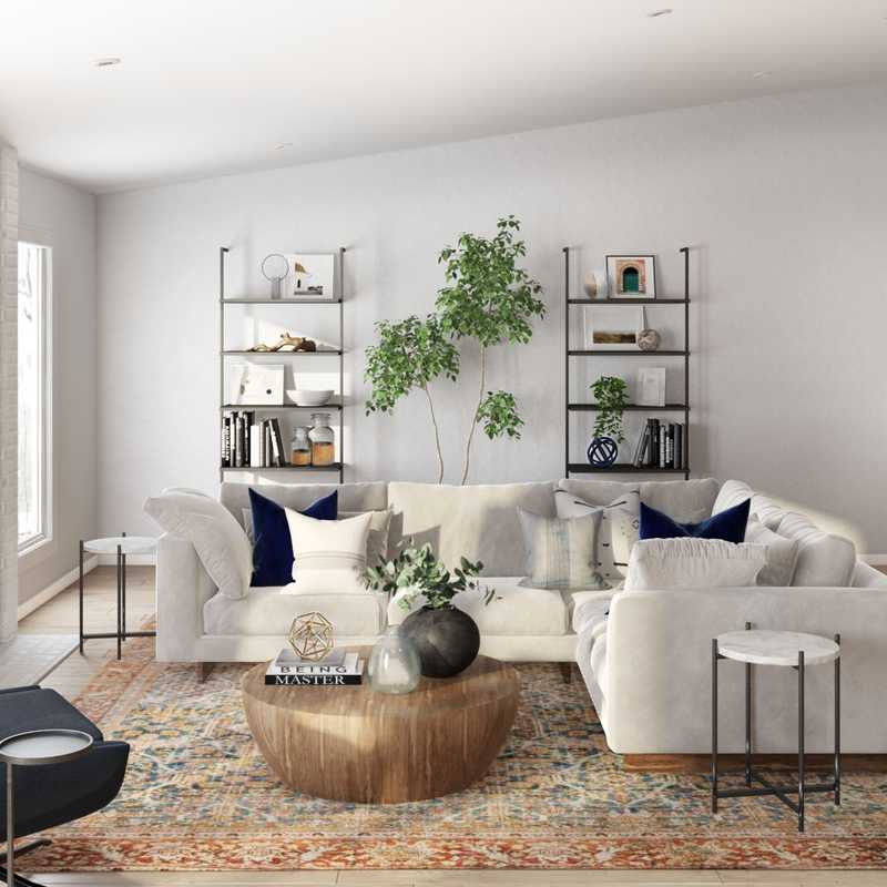 Bohemian, Coastal, Farmhouse Living Room Design by Havenly Interior Designer Diana