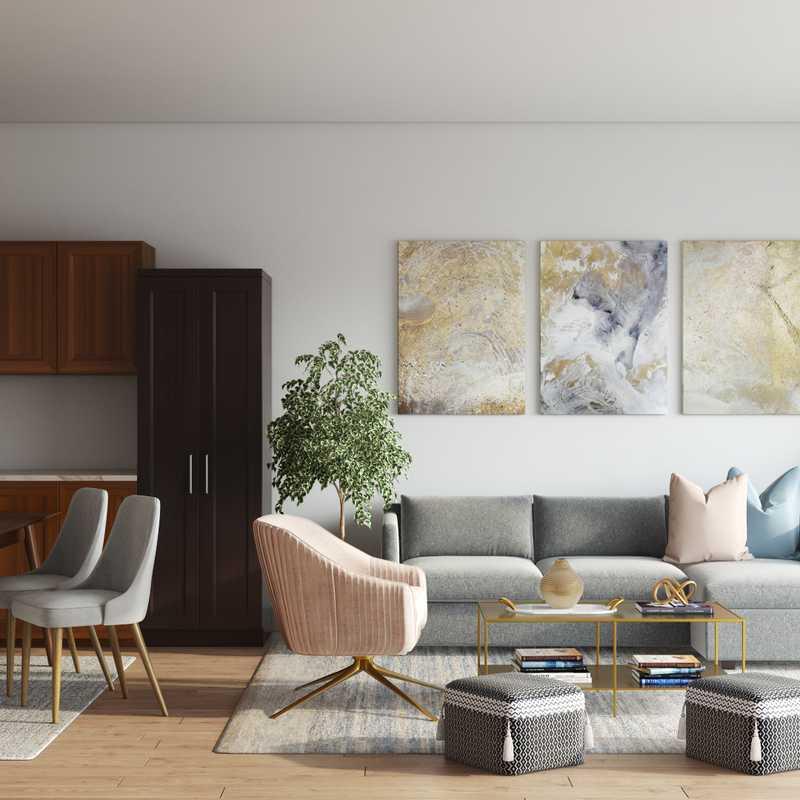 Bohemian, Glam, Scandinavian Living Room Design by Havenly Interior Designer Kheirieh