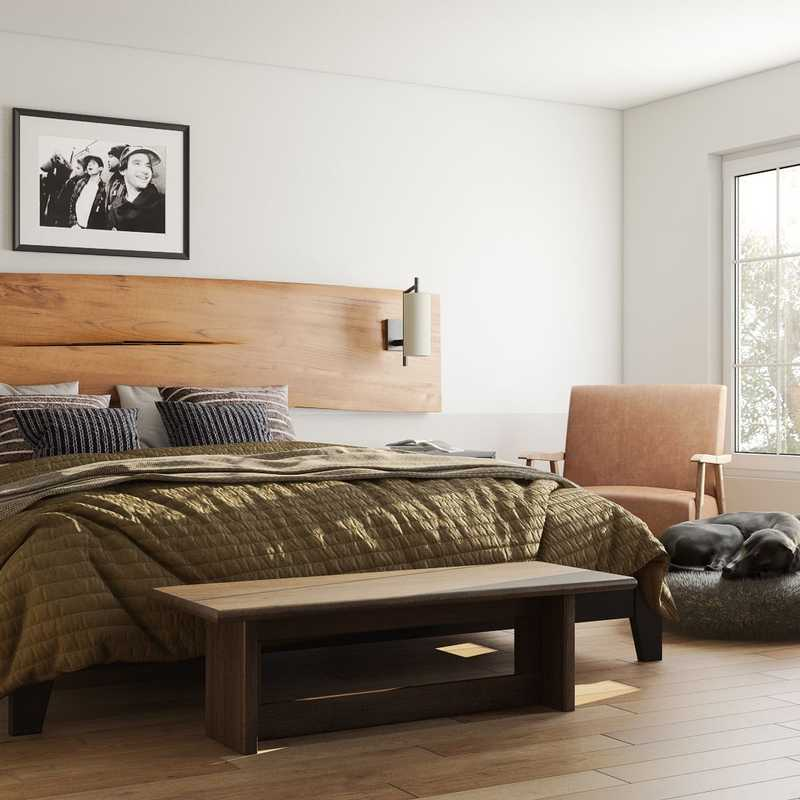 Bohemian, Midcentury Modern Bedroom Design by Havenly Interior Designer Carla