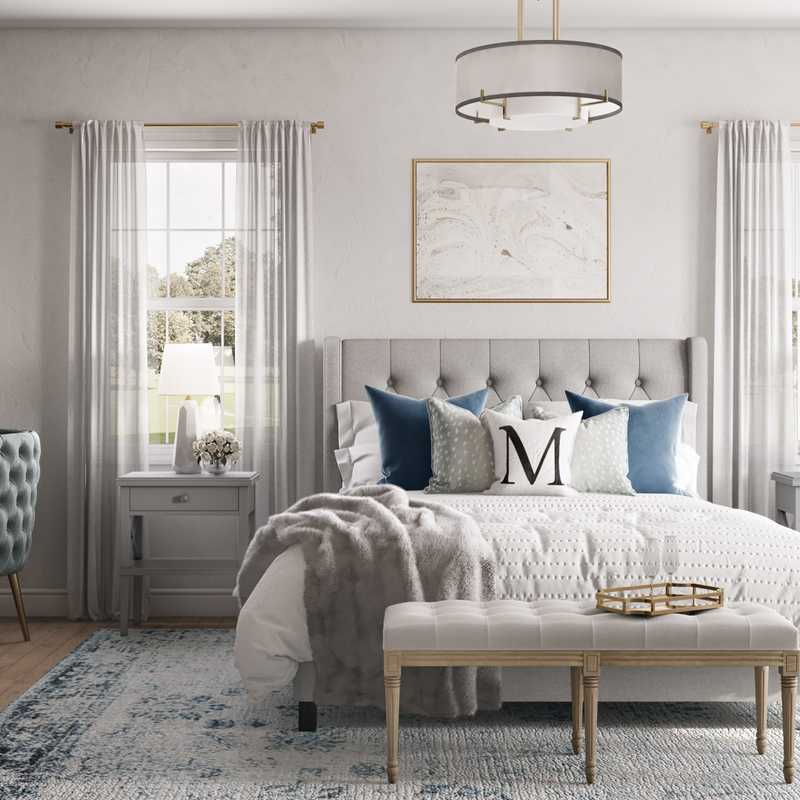 Glam, Preppy Bedroom Design by Havenly Interior Designer Jennifer