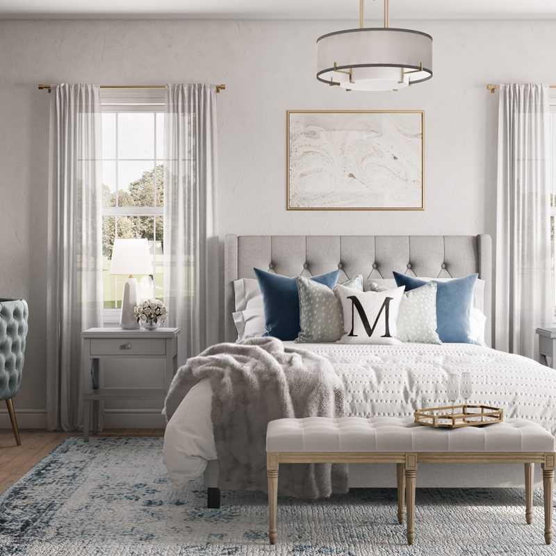 Glam, Preppy Bedroom Design by Havenly Interior Designer Jennifer