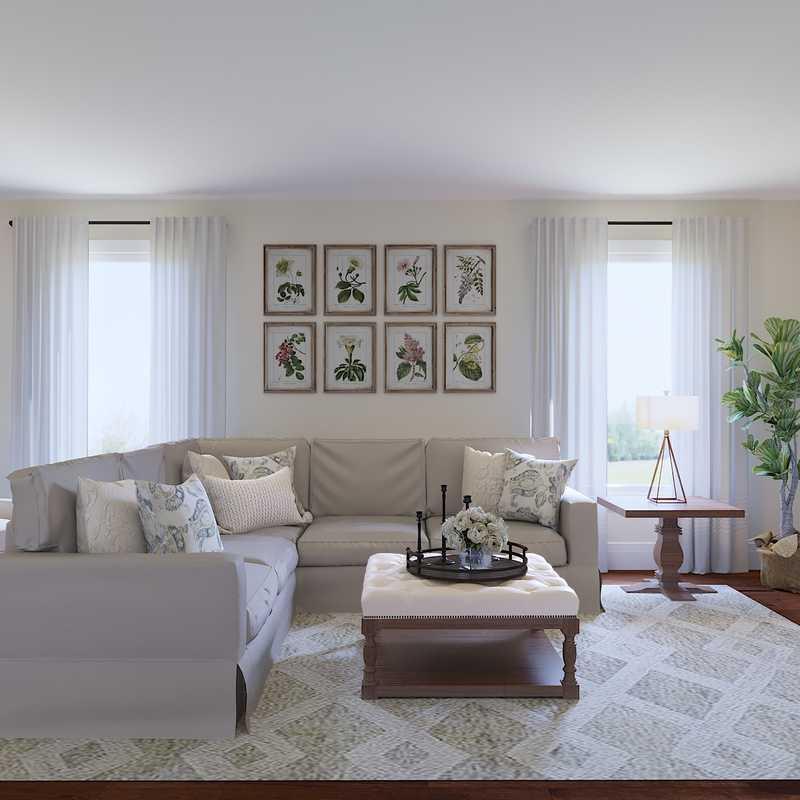 Classic, Farmhouse Living Room Design by Havenly Interior Designer Emma