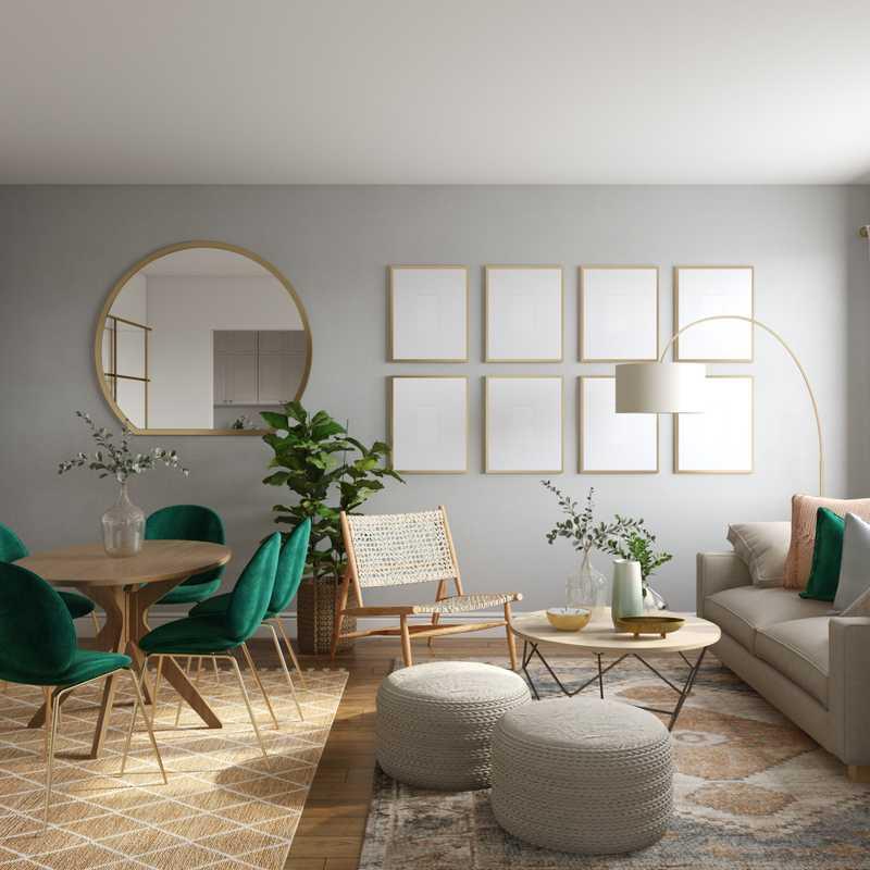 Bohemian, Coastal, Midcentury Modern Living Room Design by Havenly Interior Designer Ghianella