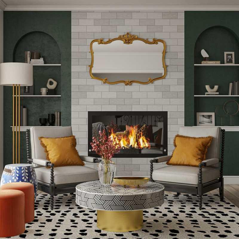 Eclectic, Glam, Vintage, Preppy Living Room Design by Havenly Interior Designer Ghianella