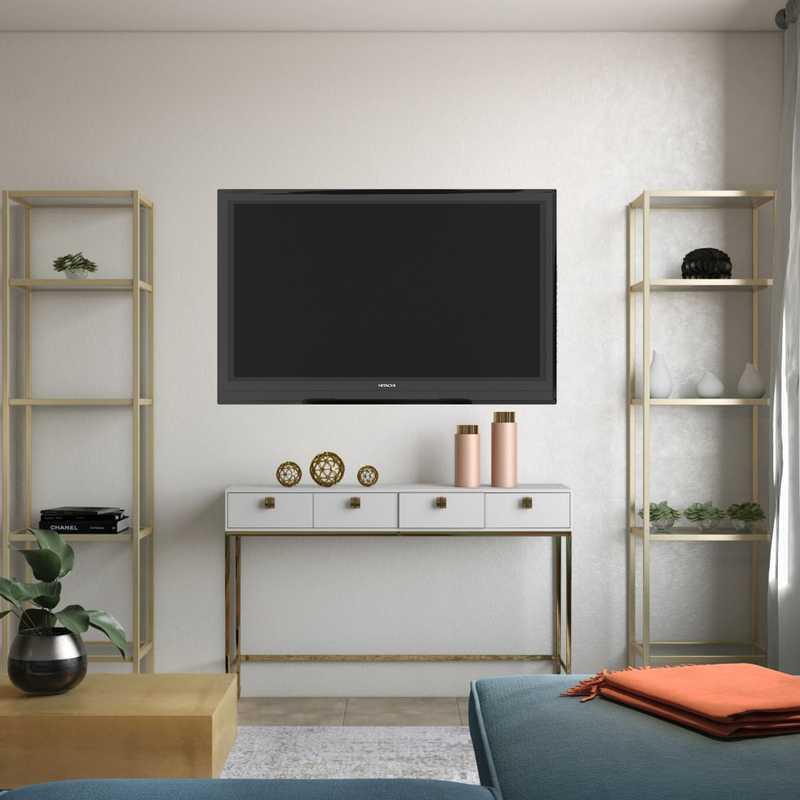 Bohemian, Coastal, Glam Living Room Design by Havenly Interior Designer Sarah