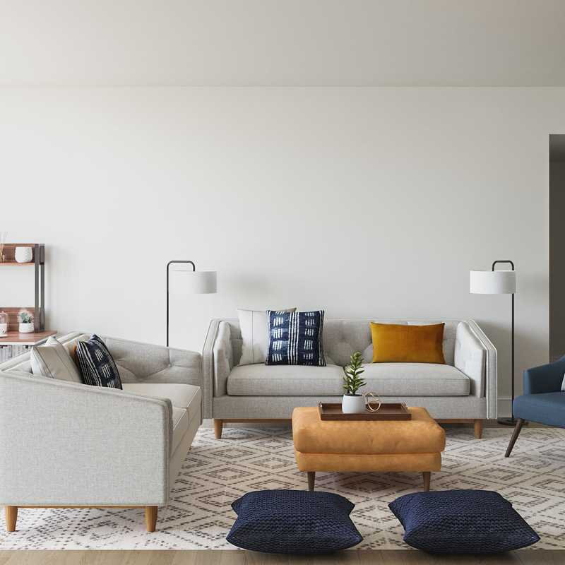 Contemporary, Modern, Global, Midcentury Modern Living Room Design by Havenly Interior Designer Lauren