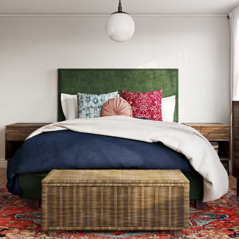 Bohemian, Midcentury Modern Bedroom Design by Havenly Interior Designer Lauren