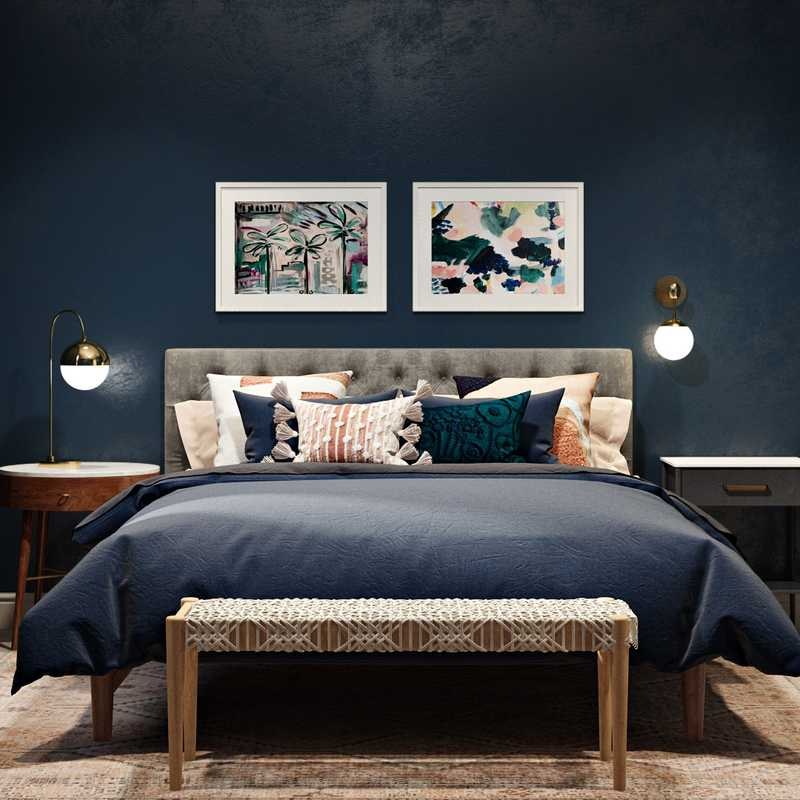 Eclectic, Bohemian, Midcentury Modern Bedroom Design by Havenly Interior Designer Sonia