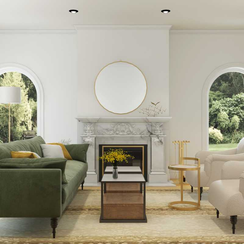 Glam, Traditional, Transitional Living Room Design by Havenly Interior Designer Karen