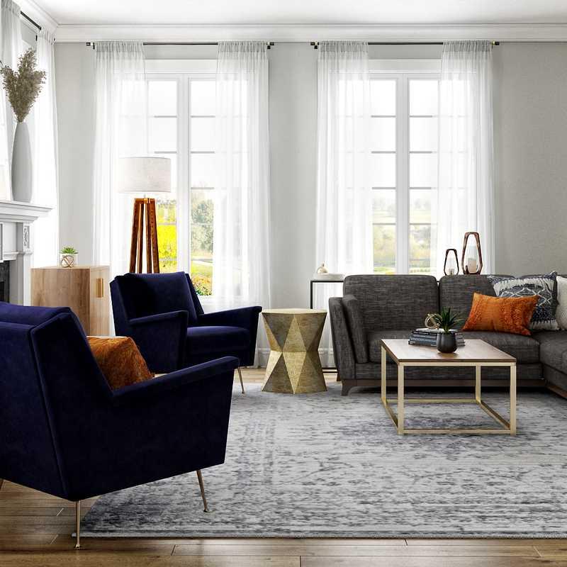 Modern, Bohemian, Transitional, Midcentury Modern Living Room Design by Havenly Interior Designer Julie