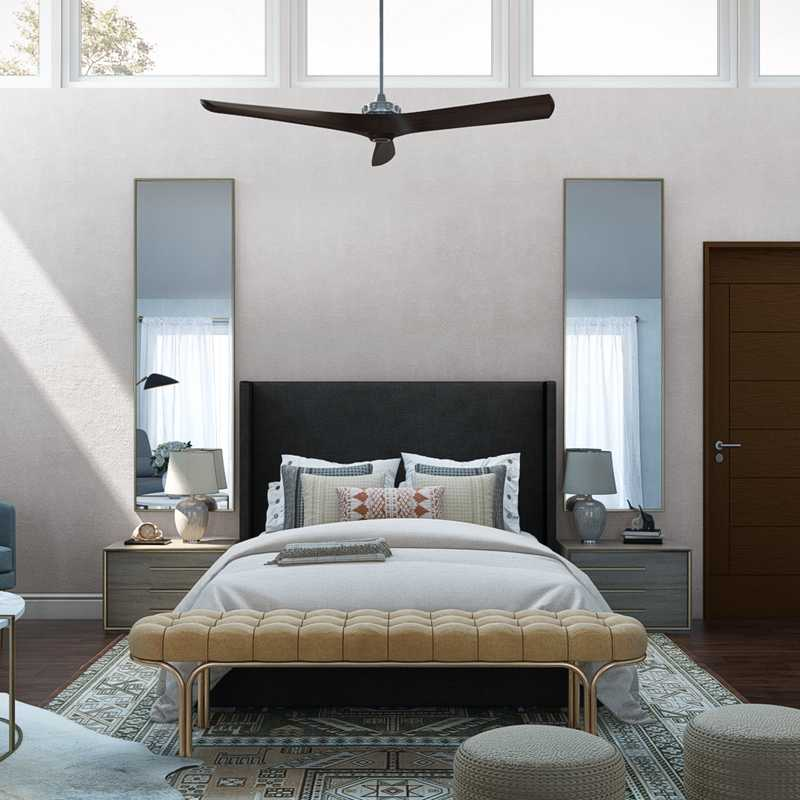 Bohemian, Glam, Midcentury Modern Bedroom Design by Havenly Interior Designer Maria