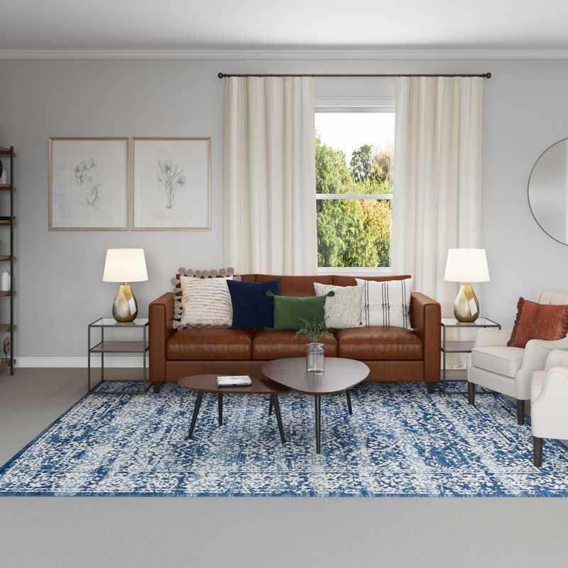 Modern, Bohemian, Global, Midcentury Modern Living Room Design by Havenly Interior Designer Tammy