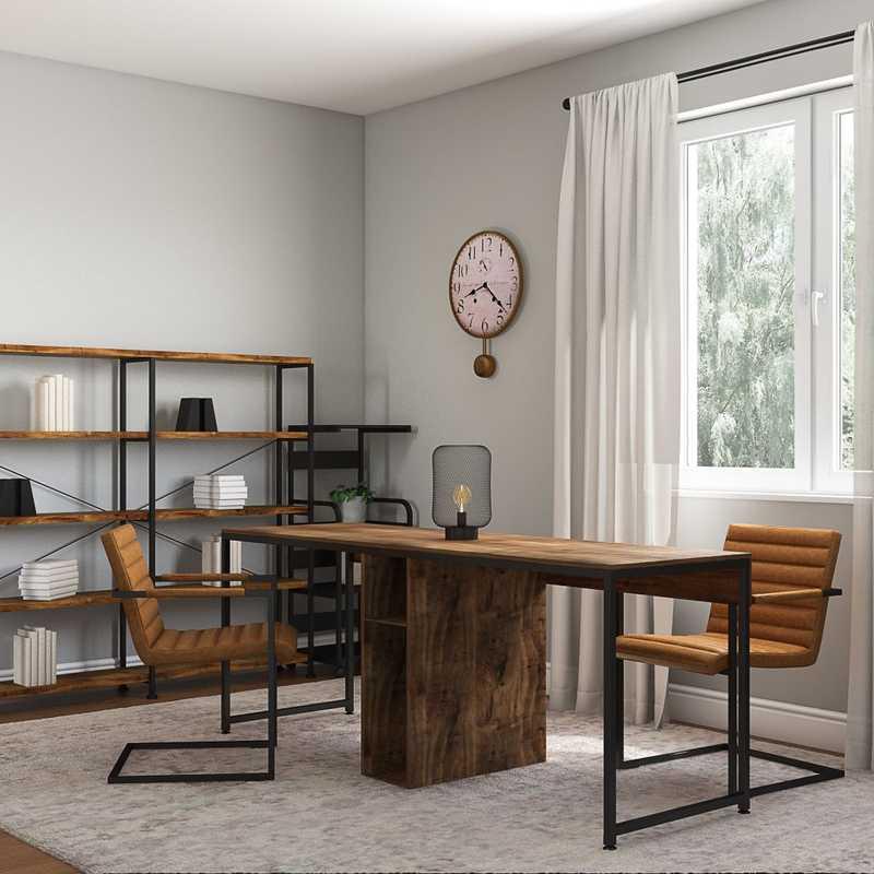 Industrial, Midcentury Modern Office Design by Havenly Interior Designer Kaylee