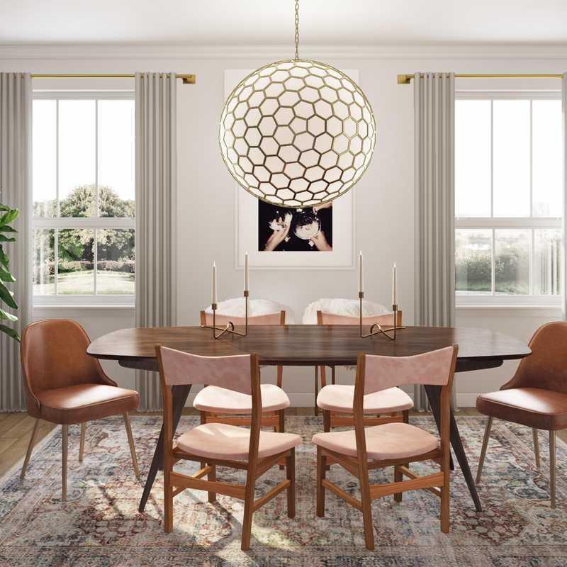 Eclectic, Glam Dining Room Design by Havenly Interior Designer Natalie