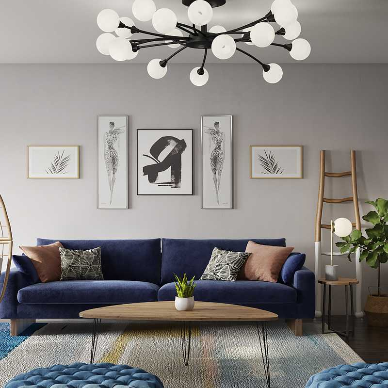 Bohemian, Midcentury Modern Living Room Design by Havenly Interior Designer Danielle