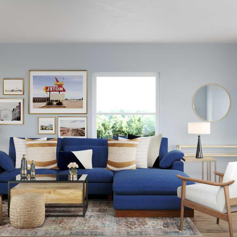 Transitional, Midcentury Modern Living Room Design by Havenly Interior Designer Ghianella