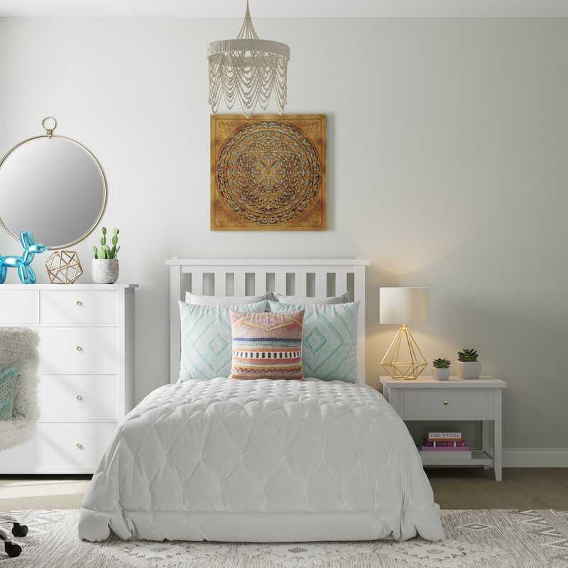 Bohemian, Scandinavian Bedroom Design by Havenly Interior Designer Fendy
