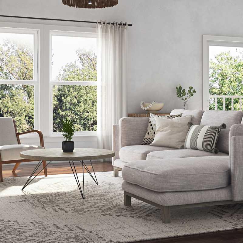 Modern, Bohemian, Midcentury Modern Living Room Design by Havenly Interior Designer Christina