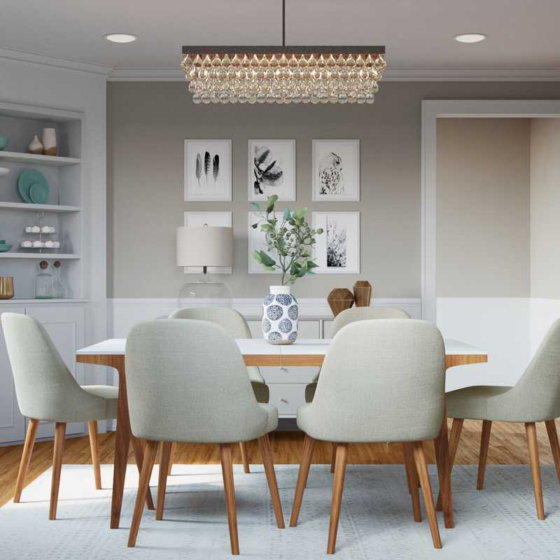 Classic, Glam, Midcentury Modern Dining Room Design by Havenly Interior Designer Rachel