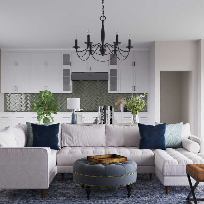 Contemporary, Farmhouse Living Room Design by Havenly Interior Designer Aleena